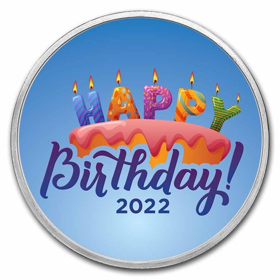 1 oz Silver Colorized Round - APMEX (2021 Birthday Candles)