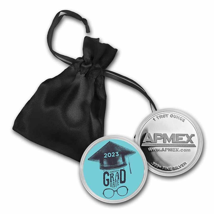 1 oz Silver Colorized Round - APMEX (2021 Grad Style)