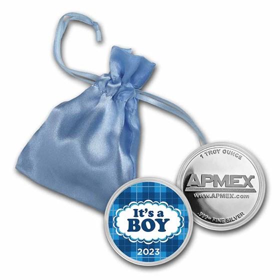 1 oz Silver Colorized Round - APMEX (2021 It's A Boy Plaid)