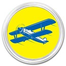 1 oz Silver Colorized Round - APMEX (Biplane, Blue)