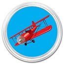 1 oz Silver Colorized Round - APMEX (Biplane, Red)