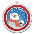 1 oz Silver Colorized Round - APMEX (Cheery Polar Bear)