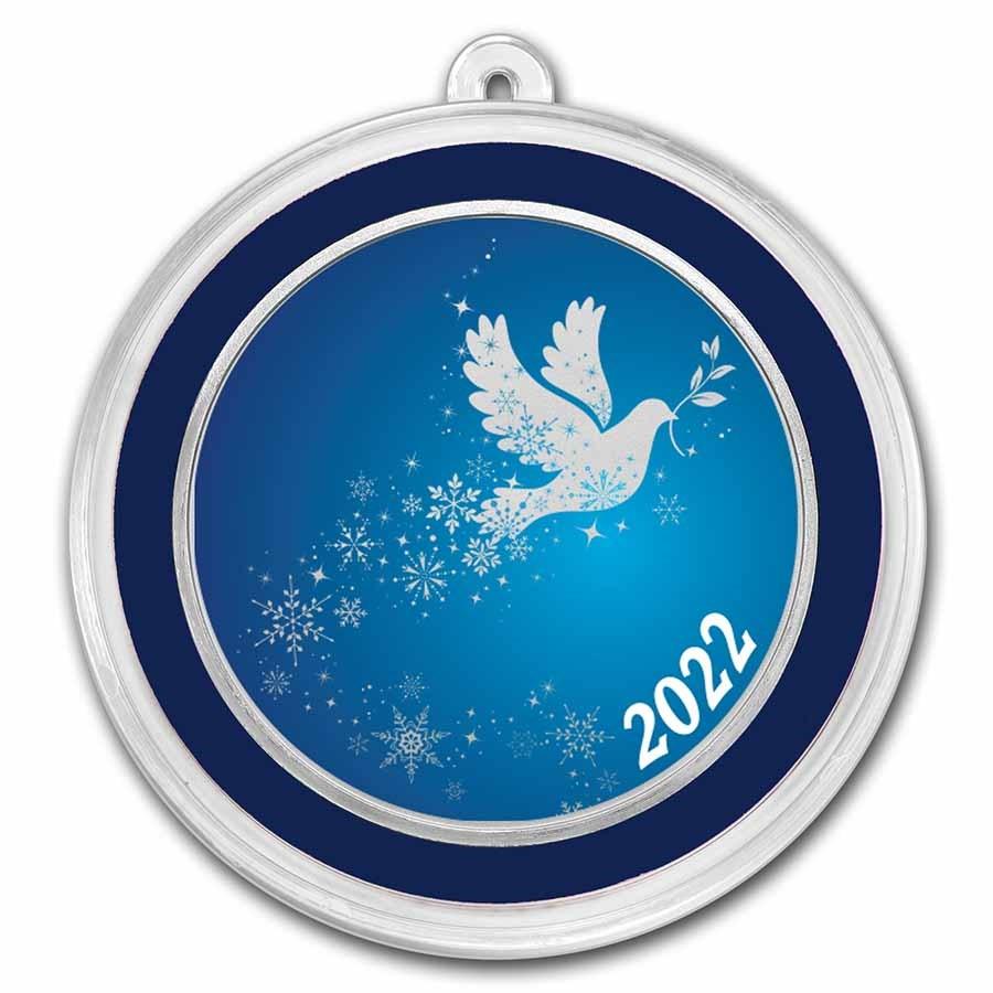 1 oz Silver Colorized Round - APMEX (Dove Snowflakes)