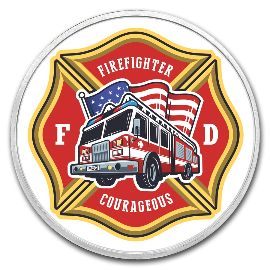 1 oz Silver Colorized Round - APMEX (Firefighter - Seal)