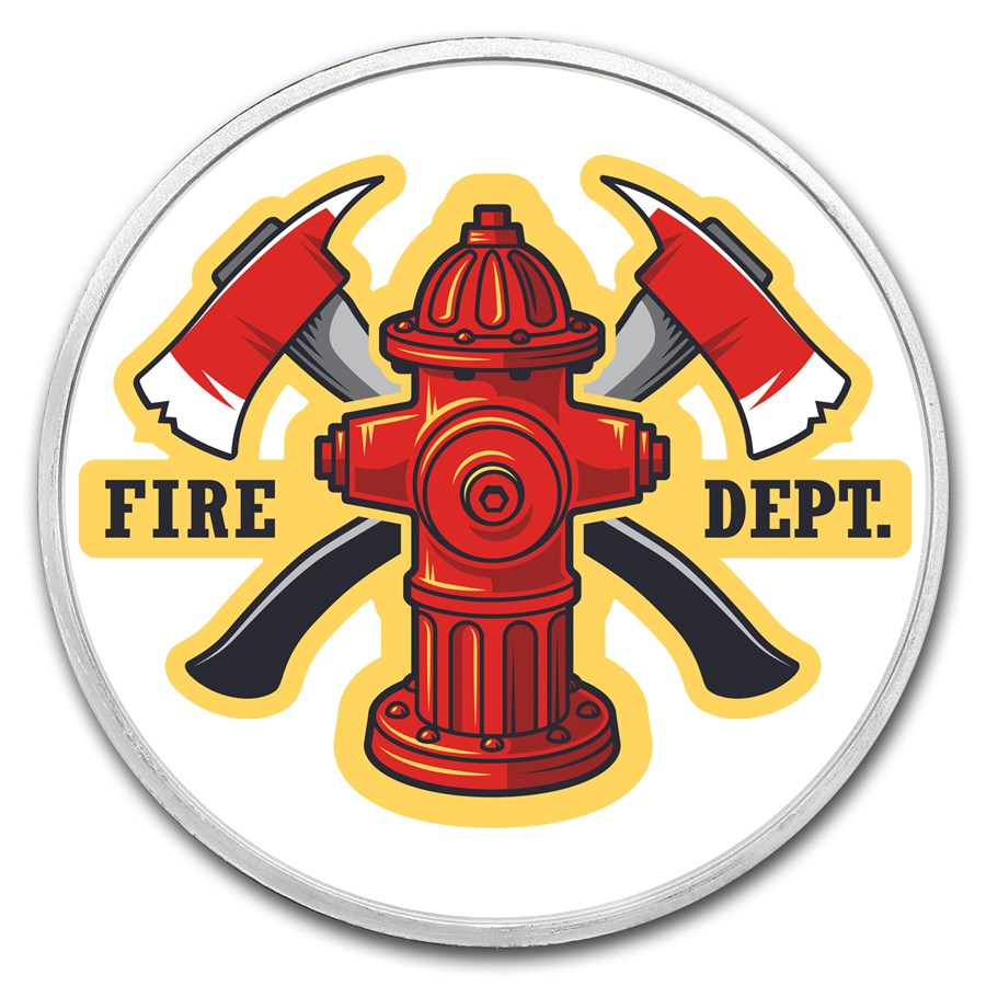 1 oz Silver Colorized Round - APMEX (Firefighter)
