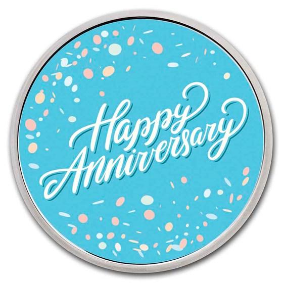 1 oz Silver Colorized Round - APMEX (Happy Anniversary)