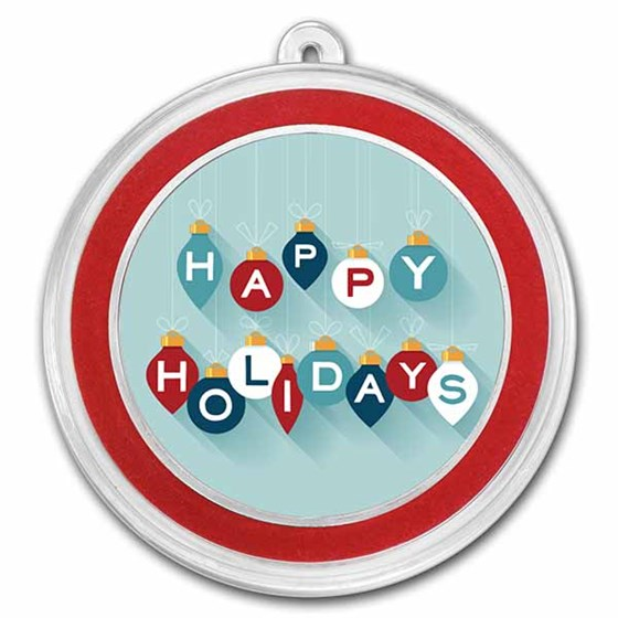 1 oz Silver Colorized Round - APMEX (Happy Holidays, Ornaments)
