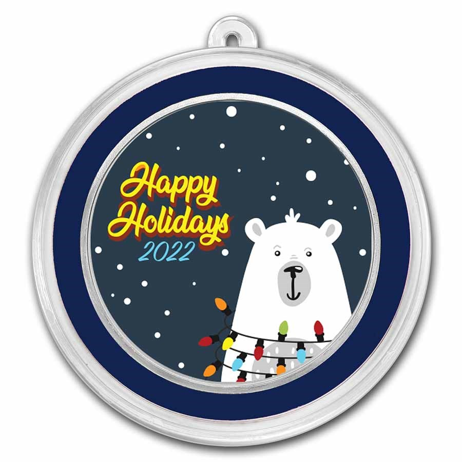 1 oz Silver Colorized Round - APMEX (Happy Holidays Polar Bear)