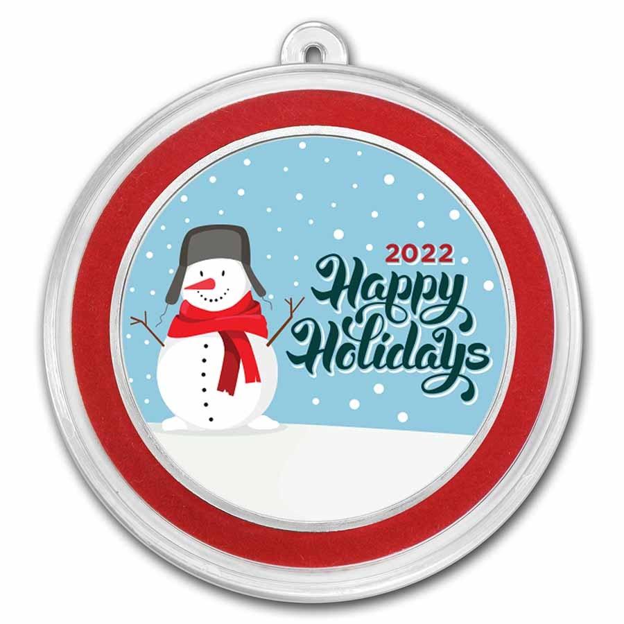 1 oz Silver Colorized Round - APMEX (Happy Holidays Snowman)