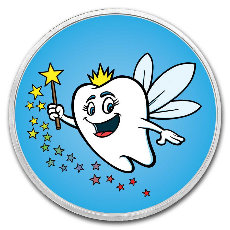 1 oz Silver Colorized Round - APMEX (Happy Tooth Fairy)