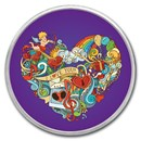 1 oz Silver Colorized Round - APMEX (Heart Collage)