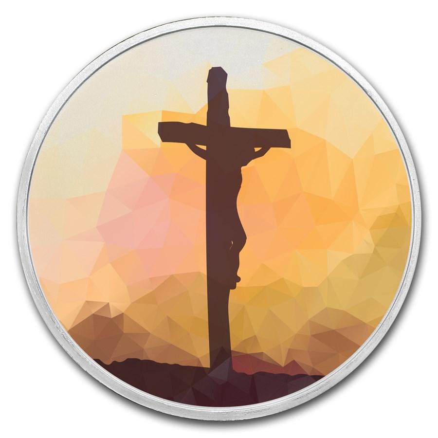 1 oz Silver Colorized Round - APMEX (Jesus on the Cross)