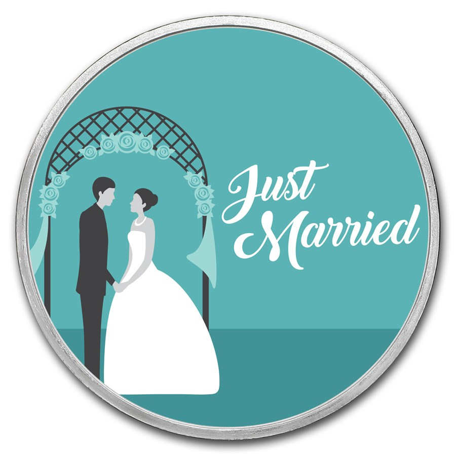 1 oz Silver Colorized Round - APMEX (Just Married - Couple)