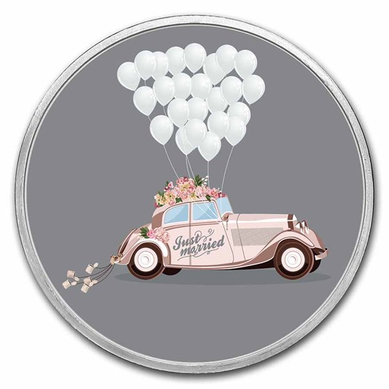 1 oz Silver Colorized Round - APMEX (Just Married - Honeymoon)