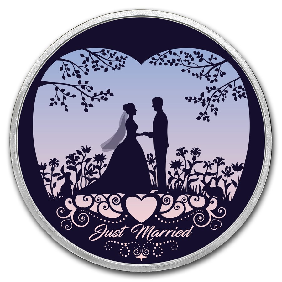 1 oz Silver Colorized Round - APMEX (Just Married - Silhouette)
