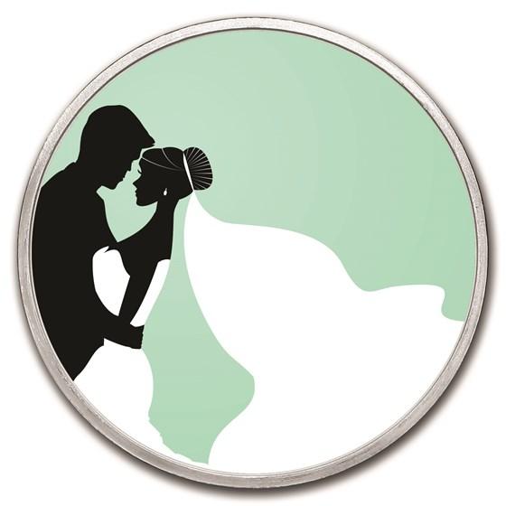 1 oz Silver Colorized Round - APMEX (Kiss The Bride)