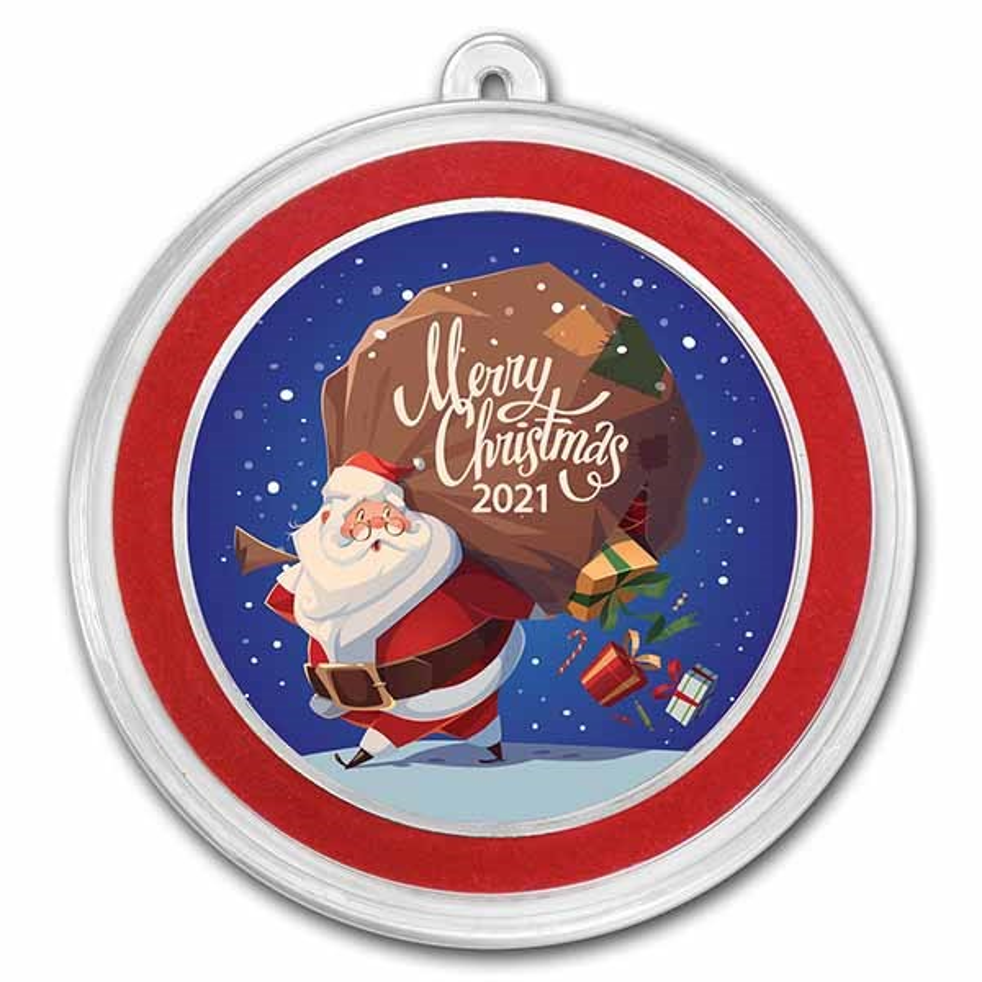 1 oz Silver Colorized Round - APMEX (Merry Christmas Santa Claus)