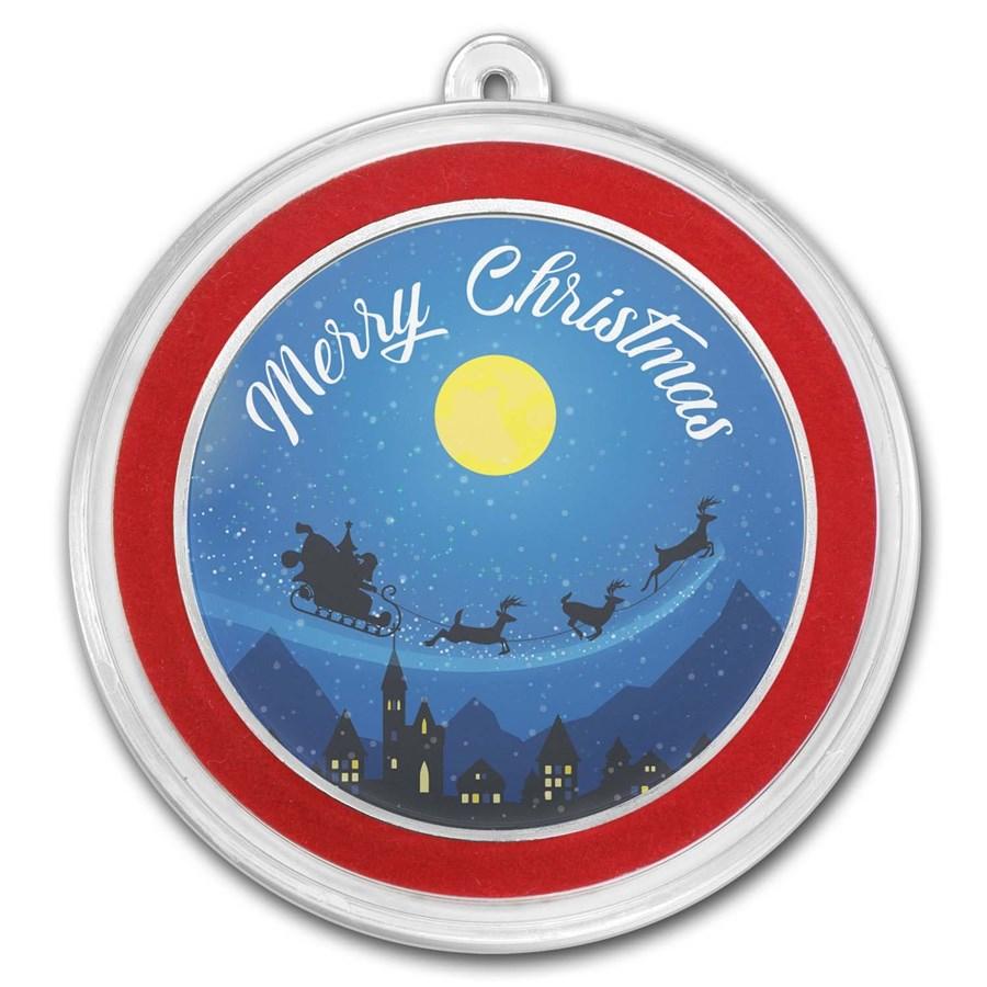 1 oz Silver Colorized Round - APMEX (Merry Christmas)