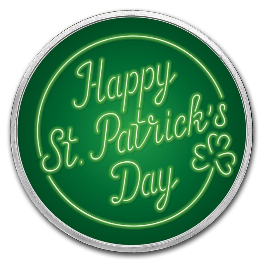 1 oz Silver Colorized Round - APMEX (Neon - St. Patrick's Day)