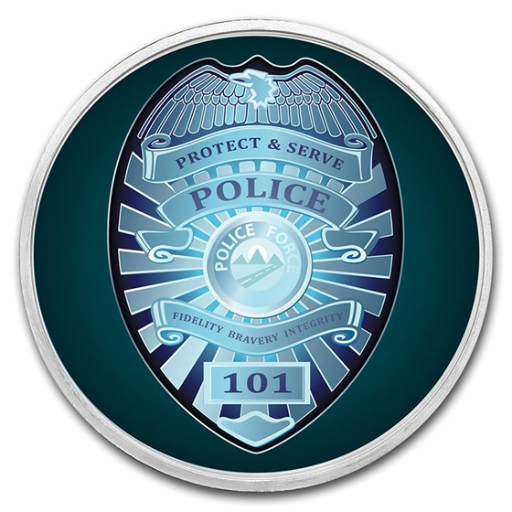 1 oz Silver Colorized Round - APMEX (Police - Badge)