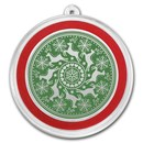1 oz Silver Colorized Round - APMEX (Prancing Reindeer Green)