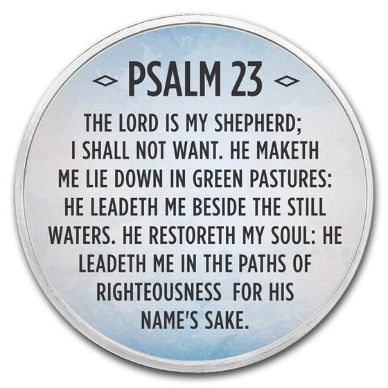 1 oz Silver Colorized Round - APMEX (Psalm 23, Sky Blue)