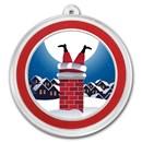1 oz Silver Colorized Round - APMEX (Santa Stuck In The Chimney)