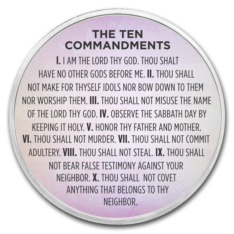 1 oz Silver Colorized Round - APMEX (Ten Commandments, Lavender)