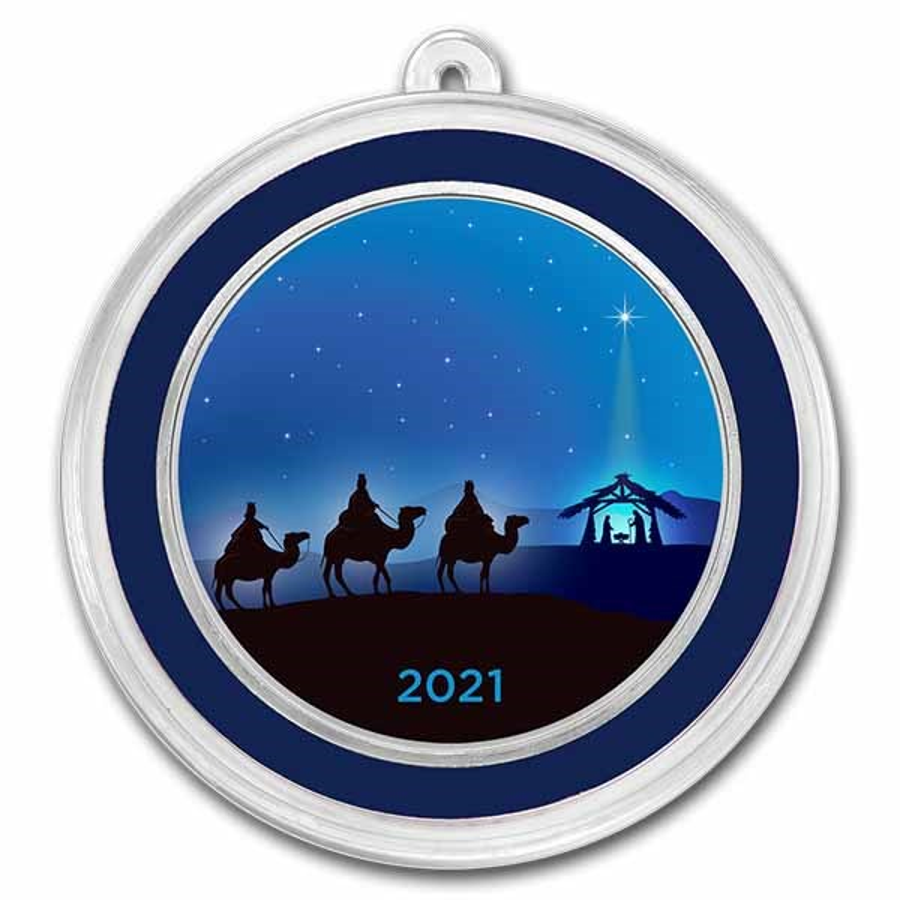 1 oz Silver Colorized Round - APMEX (Three Wise Men Blue)