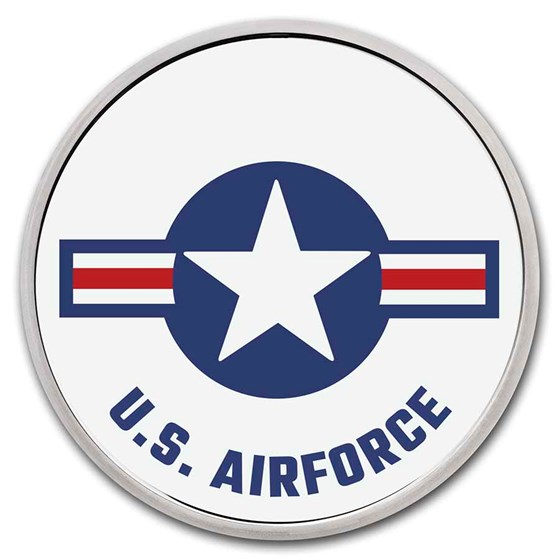 1 oz Silver Colorized Round - APMEX (U.S. Air Force, White)