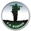 1 oz Silver Colorized Round - APMEX (U.S. Marines, Silhouette)
