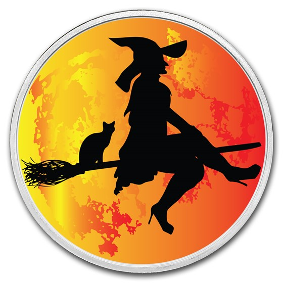 1 oz Silver Colorized Round - APMEX (Witch, Flying Over The Moon)