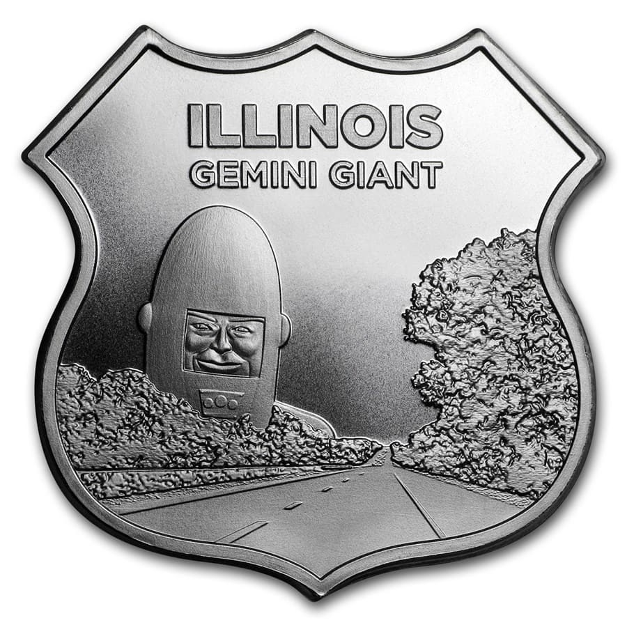 1 oz Silver - Icons of Route 66 Shield (Illinois Gemini Giant)
