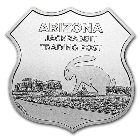 1 oz Silver - Icons of Route 66 Shield (Jack Rabbit Trading Post)