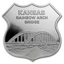 1 oz Silver - Icons of Route 66 Shield (Kansas Rainbow Bridge)