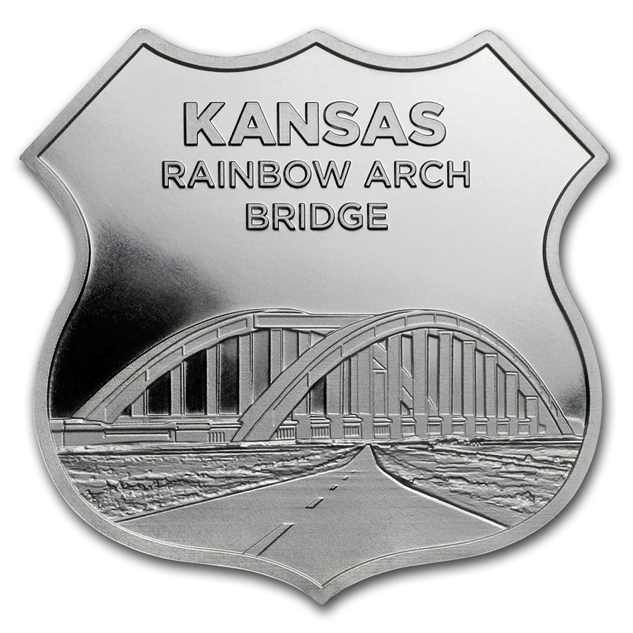 1 oz Silver - Icons of Route 66 Shield (Kansas Rainbow Bridge)