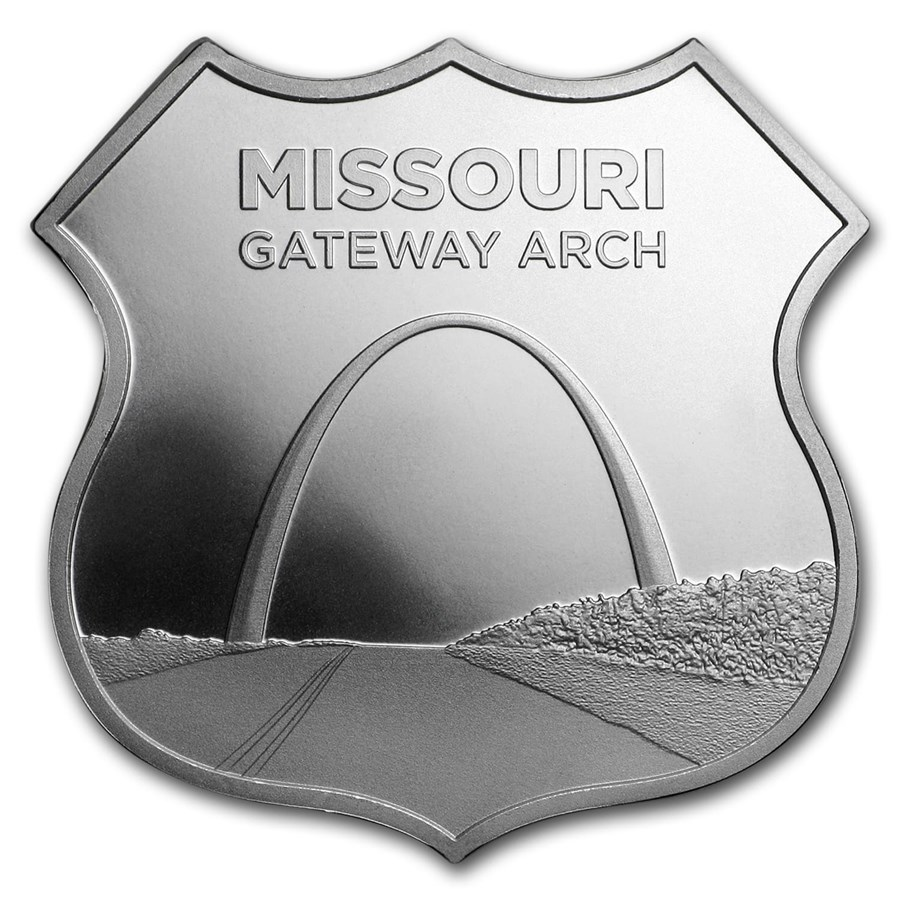 1 oz Silver - Icons of Route 66 Shield (Missouri Gateway Arch)