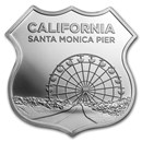 1 oz Silver - Icons of Route 66 Shield (Santa Monica Pier)