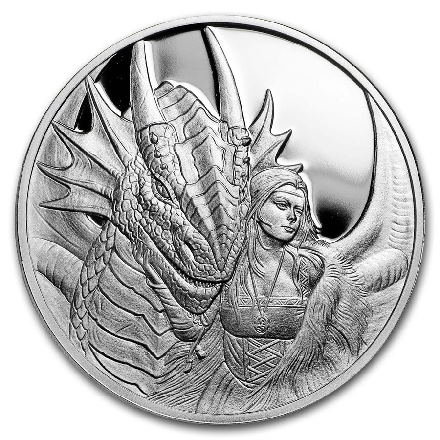 1 oz Silver Proof Round - Anne Stokes Dragons: Friend or Foe
