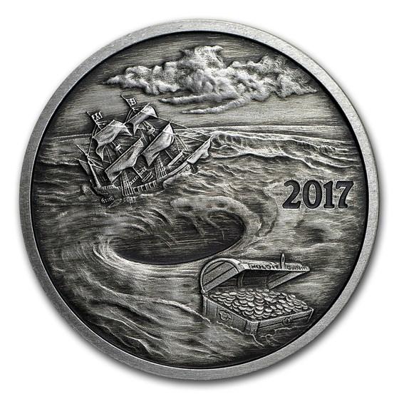 1 oz Silver Round - 2017 Silverbug Island Whirlpool (Antique)