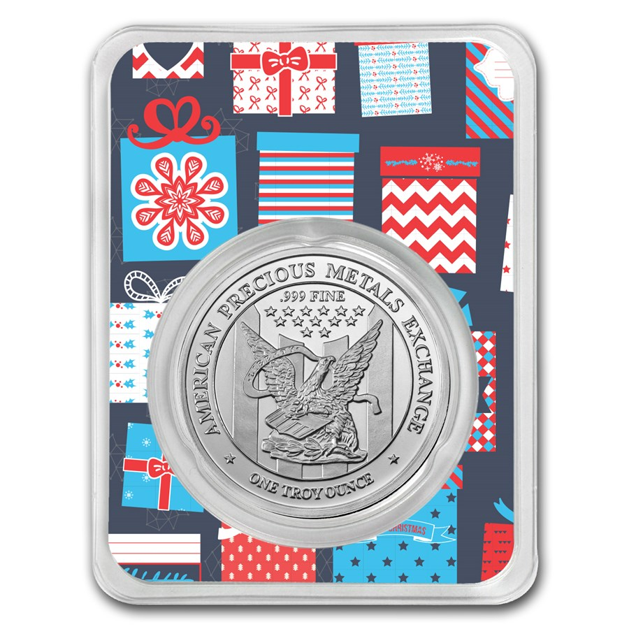 1 oz Silver Round - APMEX (w/Blue Christmas Present Card, In TEP)