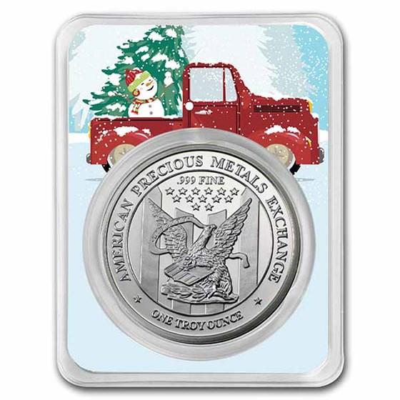 1 oz Silver Round - APMEX (w/Christmas Farm Truck Card, in TEP)