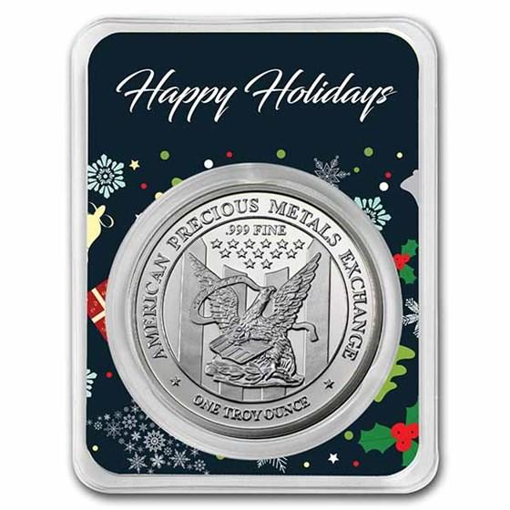 1 oz Silver Round - APMEX (w/Happy Holidays Collage Card, In TEP)
