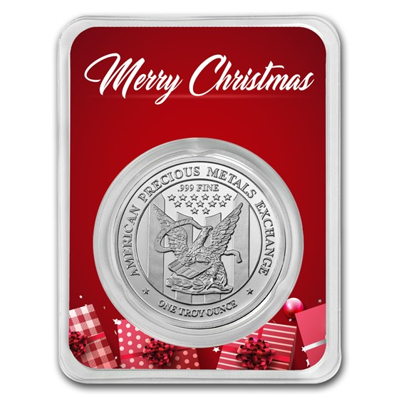 1 oz Silver Round - APMEX (w/Red Merry Christmas Card, In TEP)