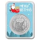 1 oz Silver Round - APMEX (w/Santa & Sleigh Card, In TEP)