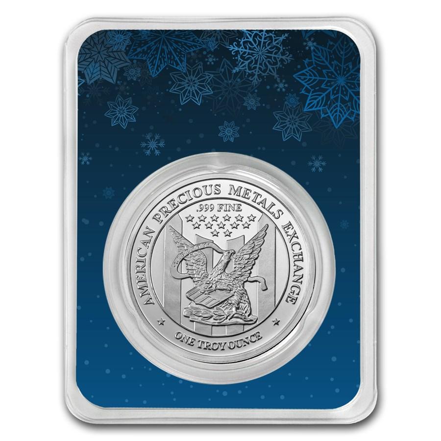 1 oz Silver Round - APMEX (w/Snowflakes Card, In TEP)