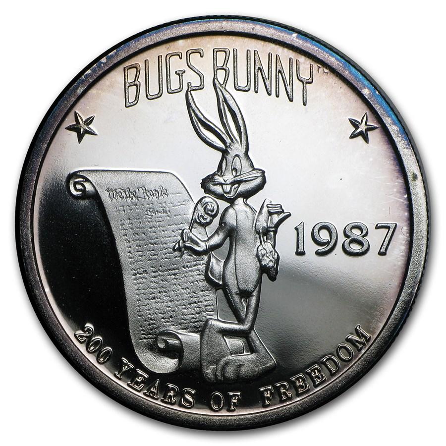 1 oz Silver Round - Bugs Bunny (1987, w/Box & COA)