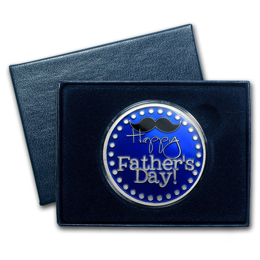1 oz Silver Round - Father's Day Mustache (Enameled, Box & Cap )