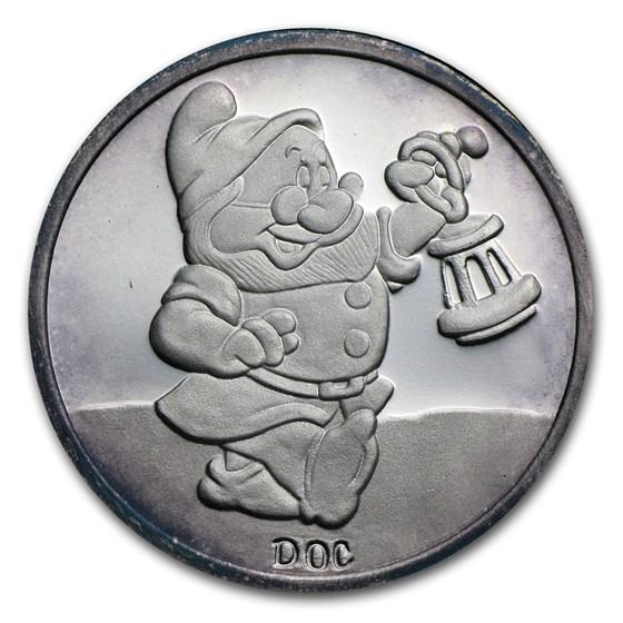 1 oz Silver Round - Snow White 50th Anniv (Doc, w/Box & COA)