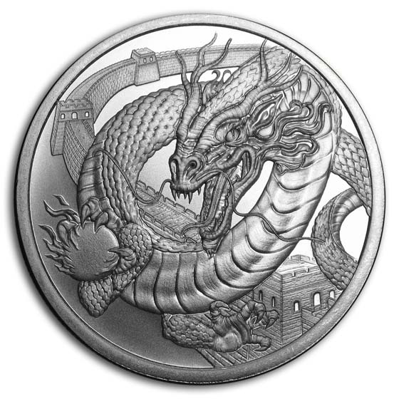 CASE COPPER ROUNDS WORLD OF DRAGONS COMPLETE BU SET of 6-1 Oz.SILVER /& 6-1 Oz